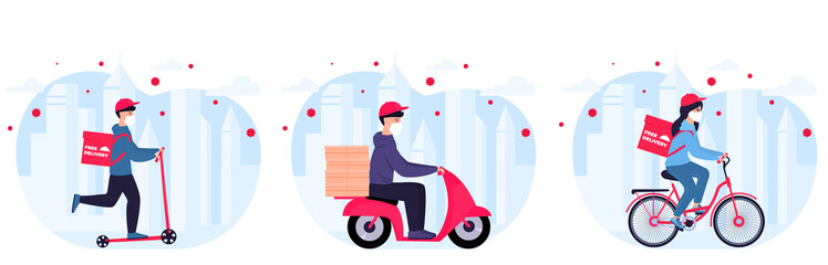 COVID-19. Coronavirus epidemic. Delivery service. Couriers in protective masks on a bicycle, scooter, motorcycle deliver goods and food to people in quarantine. Stay home concept.