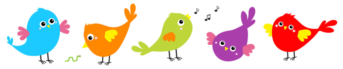 Bird icon set line. Toe trail trace sign track. Cute cartoon kawaii character. Birds baby collection. Decoration element. Singing song. Worm insect, music note. Flat design. White background.