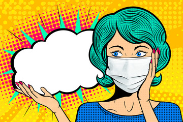 Spoed Fotobehang Pop Art Pop art female face in medical mask. Comic woman with speech bubble. Retro halftone background. Healthcare vector illustration.
