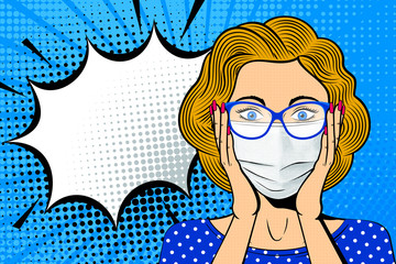 Acrylic Prints Pop Art Pop art female face in medical mask. Shocked blonde woman in glasses with speech bubble. Retro dotted background. Healthcare vector illustration.