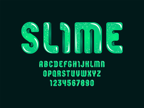Green slime font, cute alphabet in the cartoon style, green rounded letters from A-Z and numbers from 0-9 for you designs: logo, t-shirt, card, poster, vector illustration 10EPS