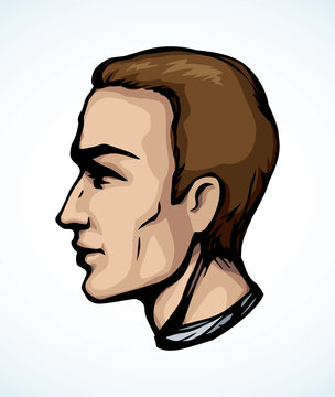 Profile of a handsome man. Vector drawing