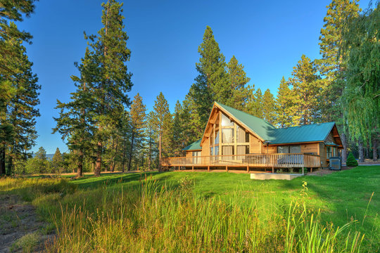 Luxury Cedar cabin home with Large pine tree and pond