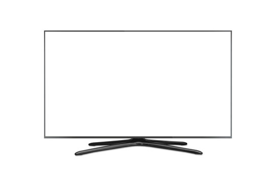 Frontal view of led or lcd internet tv monitor isolated on white