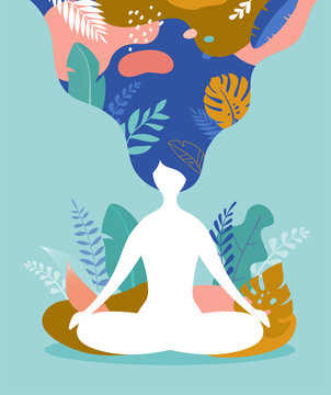 Coping with stress and anxiety using mindfulness, meditation and yoga. Vector background in pastel vintage colors with a woman sitting cross-legged and meditating. Vector illustration
