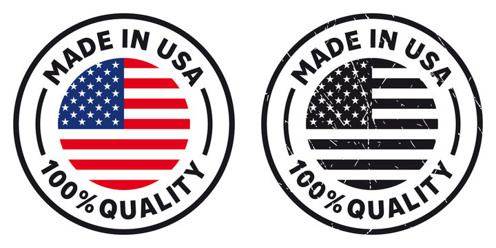 Vector circle symbol. Text Made in USA with flag. Stamp. Isolated on white background.