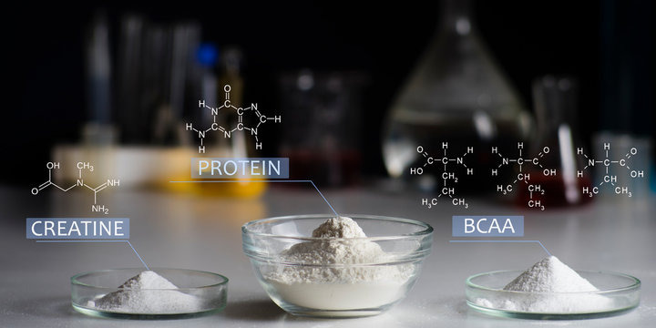 Sport Nutrition Supplement in lab. Chemical formula of creatine, whey protein, BCCA.