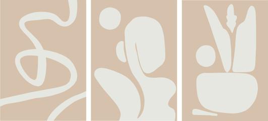 mid century abstract art set, pale earth colors, minimalist design vector illustration