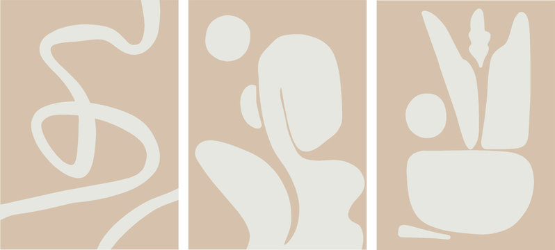 mid century abstract art set, pale earth colors, minimalist design vector illustration