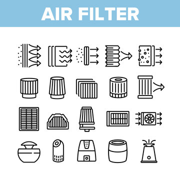 Air Filter And Airflow Collection Icons Set Vector. Car And Conditioner Air Filter Equipment, Domestic Device For Filtration Concept Linear Pictograms. Monochrome Contour Illustrations