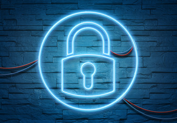 Web security neon icon illuminating a brick wall with blue and pink glowing light 3D rendering
