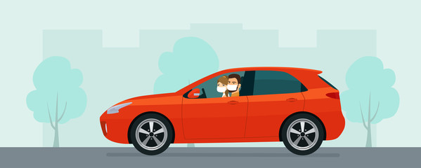 Poster Cartoon cars Hatchback car with a young man and woman in a medical mask driving on a background of abstract cityscape. Vector flat style illustration.