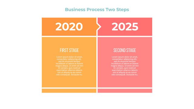 Business infographic. Banner with 2 steps, options. Vector template.