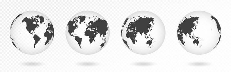 Set of transparent globes of Earth. Realistic world map in globe shape with transparent texture and shadow. Abstract 3d globe icon