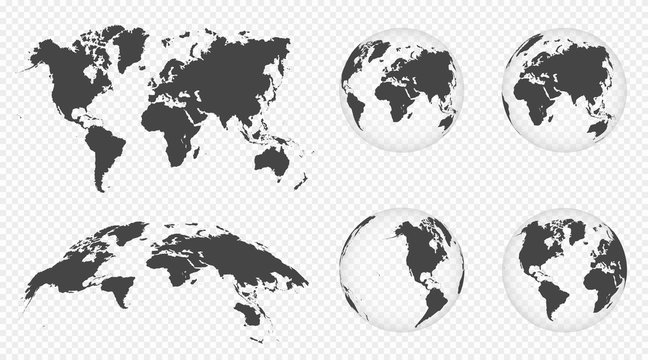 Set of transparent globes of Earth. World map template with continents. Realistic world map in globe shape with transparent texture and shadow. Abstract 3d globe icon