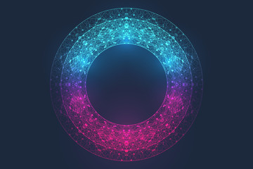 Circular quantum computer technology concept. Sphere explosion background. Deep learning artificial intelligence. Big data algorithms visualization. Waves flow. Quantum explosion, vector illustration Fotobehang