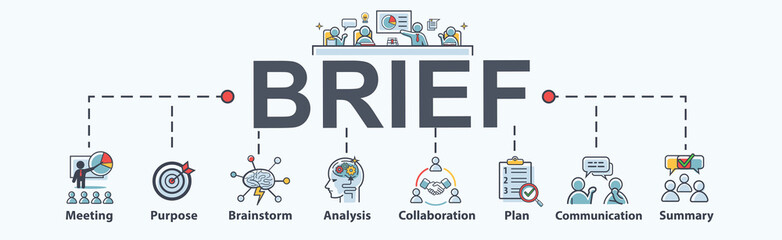 Brief banner web icon for business conference, planning, meeting, strategy, communication, brainstorm, teamwork, collaboration, goal and summary. Minimal vector infographic.
