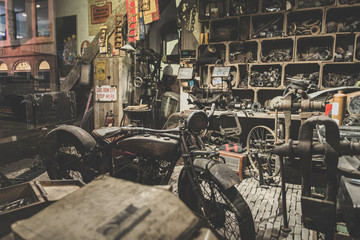 Photo Blinds Bicycle old abandoned motorcycle workshop from the last century