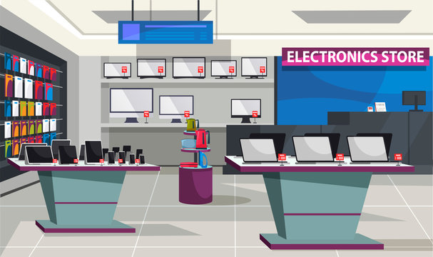Consumer electronics store with showcase interior