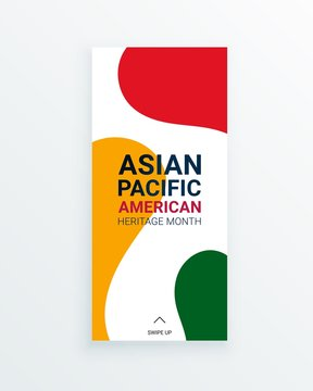 Asian Pacific American Heritage Month vector flyer template with red, yellow and green staines on white background. Celebration the contributions of Asian and Pacific Islanders to world culture.