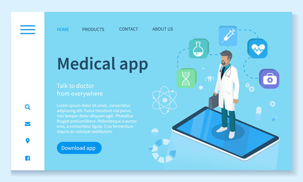 Online medical consultation responsive landing page design vector. Medical equipment services app for healthcare homepage template. Doctor in robe with stethoscope, medical icons illustration
