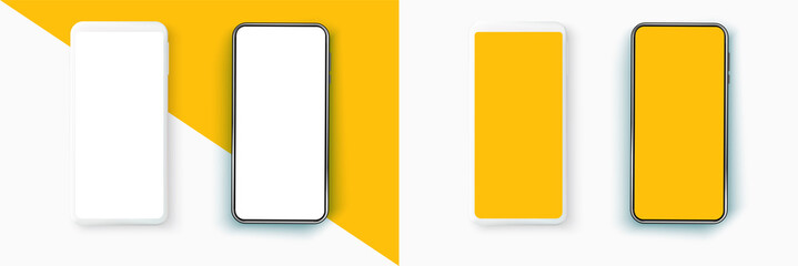 Fototapeta Realistic smartphone mockup set. Mobile phone blank, white. Device UI/UX mockup for presentation template. Smarphone isolated blank screen vector obraz