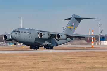 United States of America US Air Force Globemaster C17 airplane at Munich airport