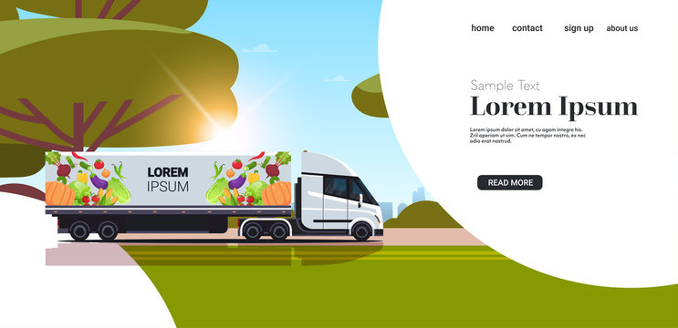 semi truck trailer with organic vegetables on highway natural vegan farm food delivery service vehicle with fresh veggies sunset landscape background copy space horizontal vector illustration