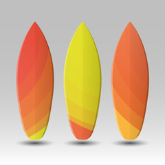 Vector Surfboards Design with Abstract Colorful Geometric Shapes Pattern