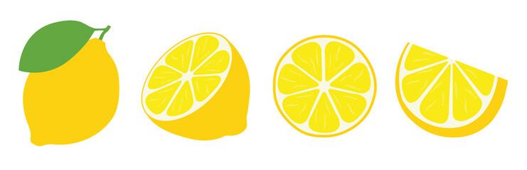 Fresh lemon icon vector illustrations