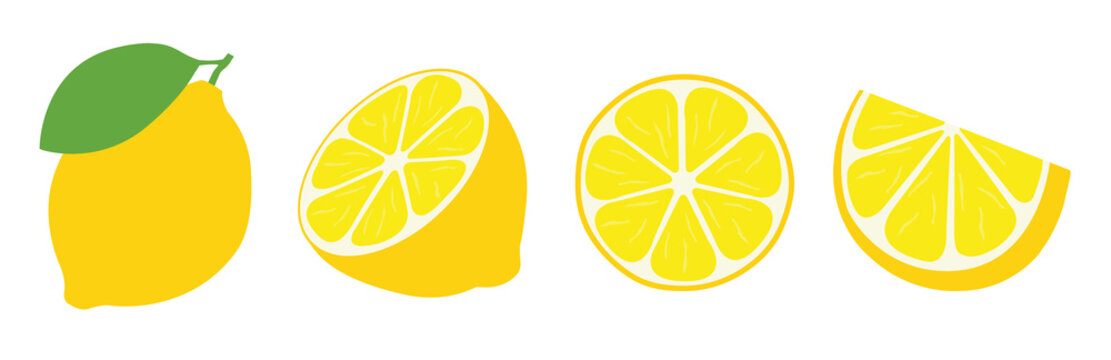 Fresh lemon icon vector illustrations