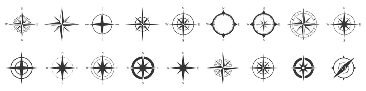 Compass icons set. Vector compass icons.
