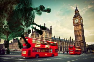 Fototapeta Coronavirus attacking London, the UK concept