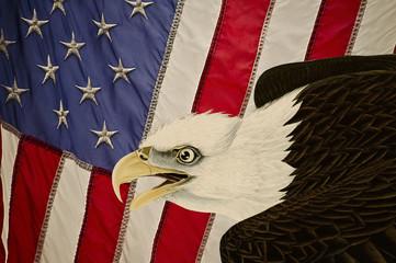 Vintage American Flag with Bald Eagle (Haliaeetus leucocephalus) derived from illo of J.J. Audubon