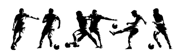 Fototapeta Soccer players, group of footballers. Set of isolated vector silhouettes. Ink drawing. Team sport