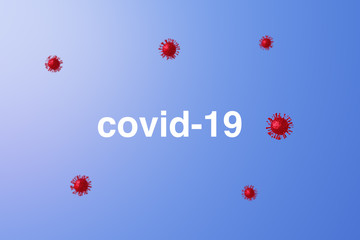 Covid-19, 3D illustration of a respiratory pathogenic virus from Asia - Dangerous Asian Corona Virus - Image of particles floating in the void with written - Copy space