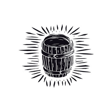 Wood barrel illustration in linocut style