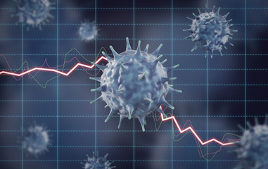 Concept image of financial impact by viruses such as pneumonia, influenza, SARS, coronavirus, and COVID-19.3D rendering image.
