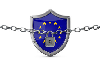 European Union lockdown concept. Shield with lock and chain. 3D Render