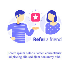 Refer a friend concept, referral program, two people talking, recommend application