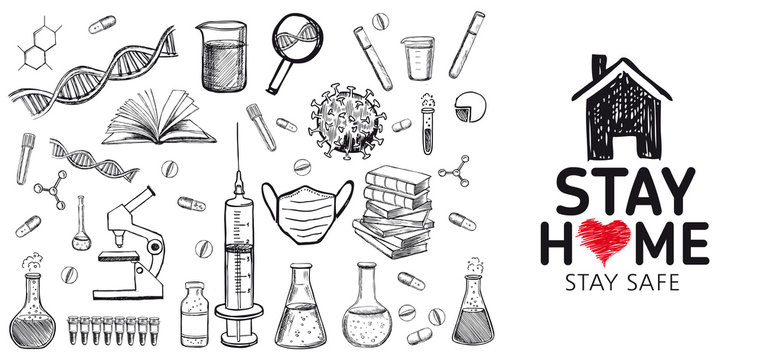 Stay home stay safe doodle illustration. Quarantine. Pandemic coronavirus. Coronavirus, dna, blood test. Laboratory research vector hand drawn icons set.