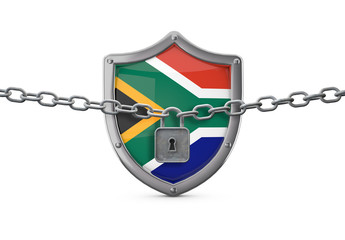 South Africa lockdown concept. Shield with lock and chain. 3D Render