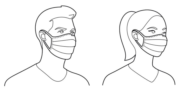Man and woman wearing medical face mask to protect themselves from catching a virus, vector illustration in outlines, black and white colours.