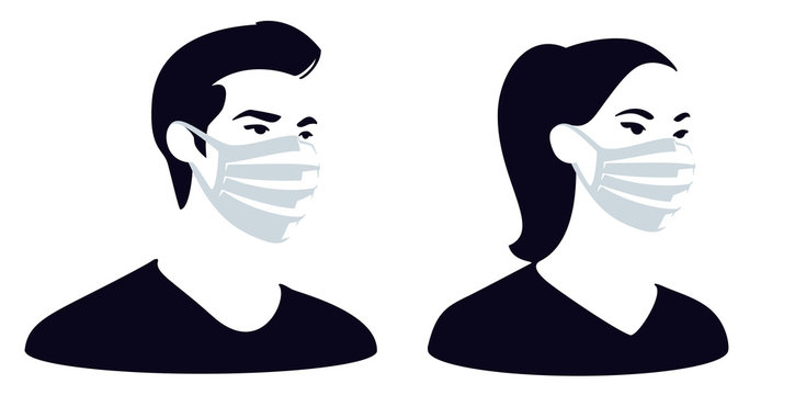 Man and woman wearing medical face mask to protect themselves from catching a virus, vector illustration, 3 colours.