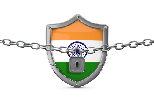 India lockdown concept. Shield with lock and chain. 3D Render