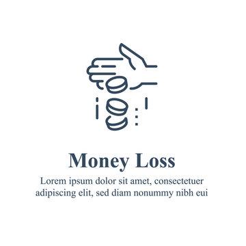 Money loss, sunken cost concept, financial debt, expenses growth, economy crisis, home budget management