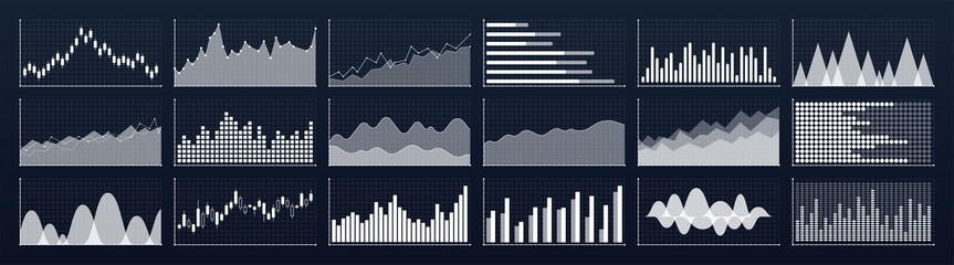 Wall Mural - Graphs and charts templates. Big set business infographics. Statistic and data, information, economy. Financial chart. Vector illustration.