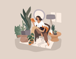 Sweet girl reading a book and resting with a cat and coffee. Feminine Daily life and everyday routine scene by young woman in home interior