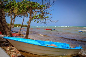 Traditional fishing boats on the beach. Caribbean, Dominican Republic.