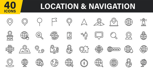 Wall Mural - Set of 40 Navigation and location, map, globe web icons in line style. GPS, compass, global, marker, map, pointer. Vector illustration.